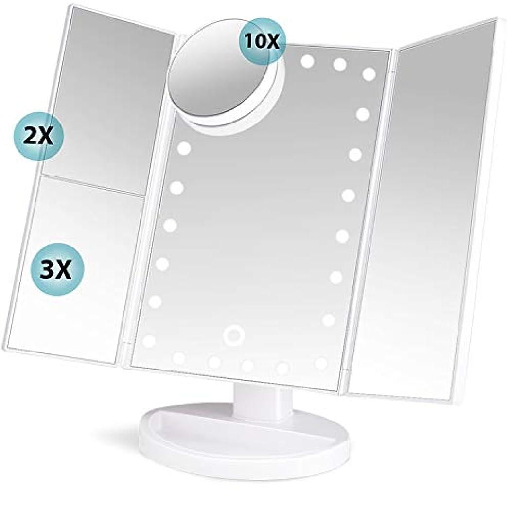 浮浪者論争の的娯楽soafiya 化粧鏡 化粧ミラー 鏡 三面鏡 女優ミラー 卓上 led付き 折りたたみ 拡大鏡 2&3倍 明るさ調節可能 180°