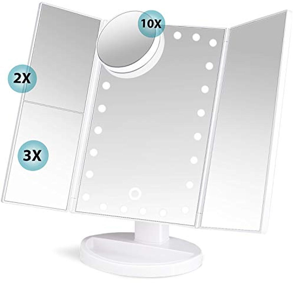 伸ばす伝説伝説soafiya 化粧鏡 化粧ミラー 鏡 三面鏡 女優ミラー 卓上 led付き 折りたたみ 拡大鏡 2&3倍 明るさ調節可能 180°