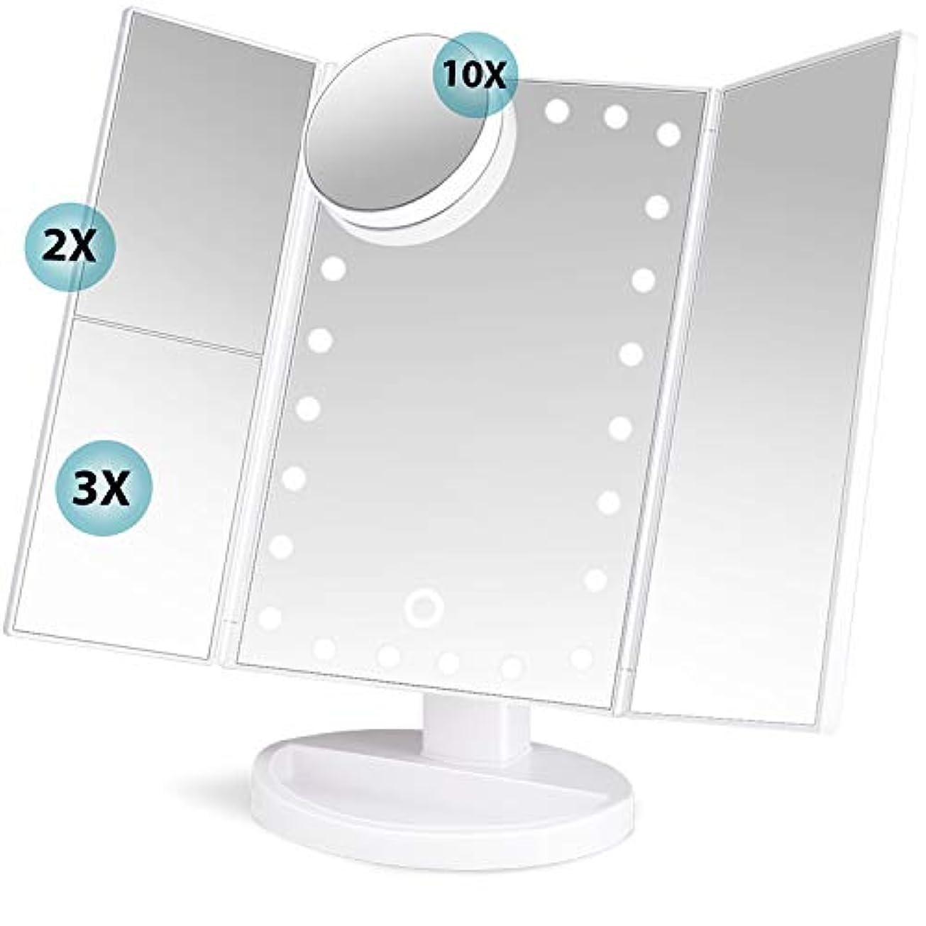 肥満ドナウ川パトロールsoafiya 化粧鏡 化粧ミラー 鏡 三面鏡 女優ミラー 卓上 led付き 折りたたみ 拡大鏡 2&3倍 明るさ調節可能 180°