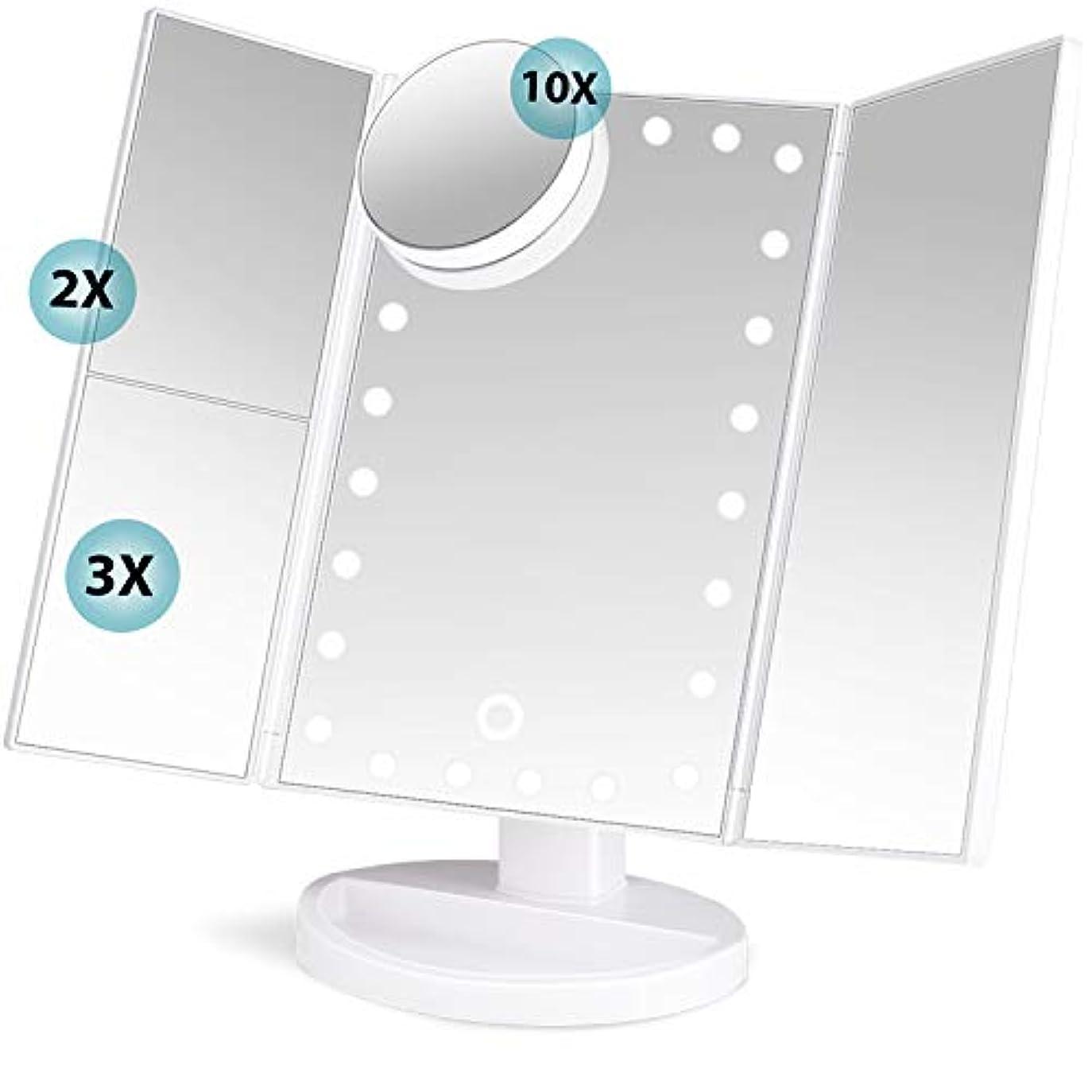 動詞思われる小売soafiya 化粧鏡 化粧ミラー 鏡 三面鏡 女優ミラー 卓上 led付き 折りたたみ 拡大鏡 2&3倍 明るさ調節可能 180°