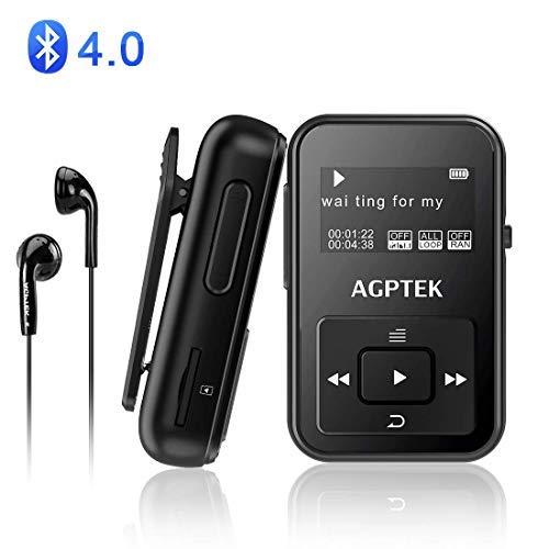 AGPTEK Bluetooth4.0 MP3プレーヤー ミニ クリップ式 運動用 防汗カバー&アームバンド付属 内蔵8GB マイクロSDカード最大128GBに対応 A12 ブラック