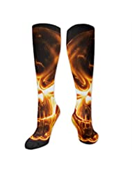 レディースFunny Casual Socks - コットンフレイミングスカルアスレチックソックス