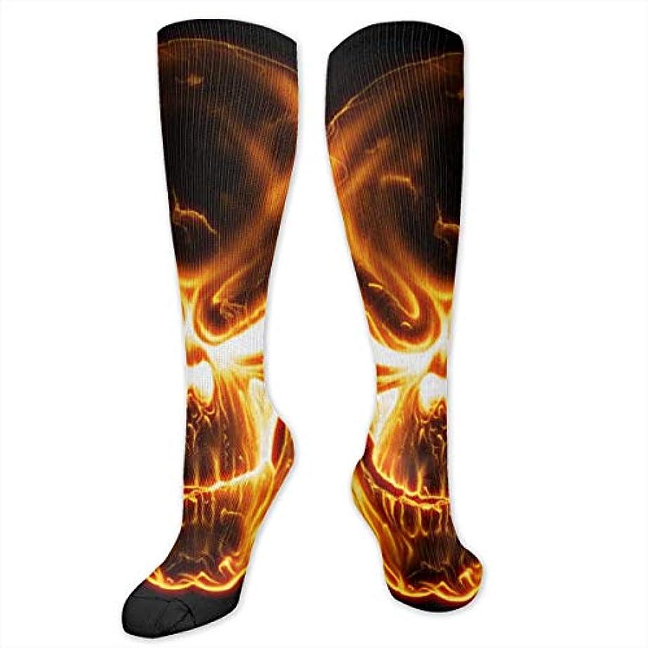 かどうかスカリー革新レディースFunny Casual Socks - コットンフレイミングスカルアスレチックソックス