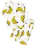 Unifriend 7分袖7分丈 キッズ 女児 綿100% オーガニック ルームウェア パジャマ ねまき 上下セット_ドローイングバナナ (ホワイト)_90cm