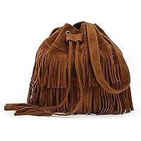 ZOZOE Womens Faux Suede Fringe Tassels Cross-Body Shoulder Bag Bucket Bag Wallet Evening Party Handbag Elegant Travel Fashion -3 Colours
