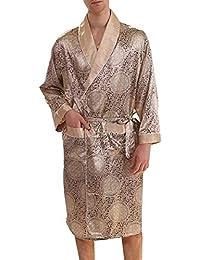 Romancly 男性サイズシルクバスローブ寝具快適カジュアルナイトガウン