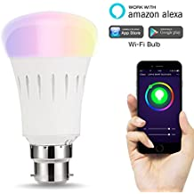 LOHAS LED Smart Bulbs, WIFI LED Lights, Work with Amazon Alexa, Multicoloured, Rainbow and Tunable White Light Bulb, 60W Equivalent, Controlled by a Smartphone, B22 Bayonet Base LED for Home Lamps