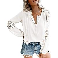 Jeanewpole1 Womens Henley Shirt Lace Crochet Button Long Sleeve V Neck Casual Chiffon Tunic Top