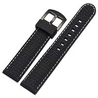 ゴム製の時計ストラップブレスレットの腕章の交換、スポーツ、黒20ミリメートルシリコーン時計バンドストラップ