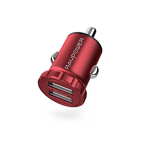 [해외]차량용 충전기 RAVPower 초소형 2 포트 USB 시가 소켓 충전기 (24W 4.8A 급속 충전 12V · 24V 차량 지원 알루미늄 합금 iSmart 기능 탑재) iPhone iPad Android 스마트 폰 태블릿 각종 지원 (레드)/Car charger RAVPower Ultra-compact 2 port USB ...