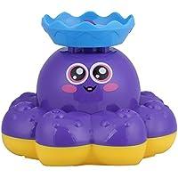 お風呂おもちゃ 噴水 バスおもちゃ 水遊び たこ ベビー 幼児 バスタイムゲーム 知育玩具 (紫)