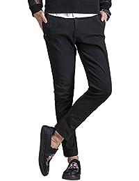 NEWHEY チノパン メンズ ストレッチ スキニーパンツ 大きいサイズ 小さいサイズ ファッション リムフィット 冬春物 美脚 細身 ロングパンツ 黒 灰色2色