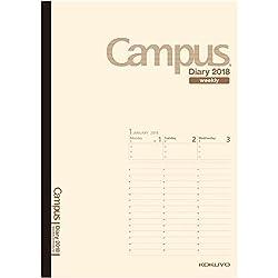 コクヨ キャンパスダイアリー 手帳 2018年 1月始まり ウィークリー B5 クリーム ニ-CWVLS-B5-18
