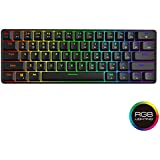 GK61 Hot Swappable Mechanical Keyboard - 61 Keys Multi Color RGB Illuminated LED Backlit Wired Gaming Keyboard, Waterproof Programmable, for PC/Mac Gamer, Typist (Gateron Optical Brown)