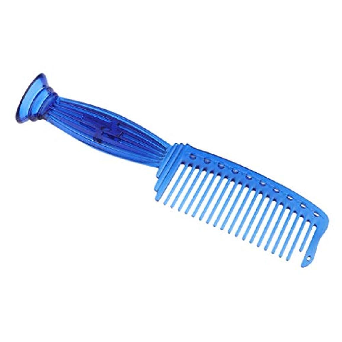 陪審書店側ヘアコーム ヘアブラシ プロ ヘアサロン 理髪師 ワイド歯 プラスチック 5色選べ - 青