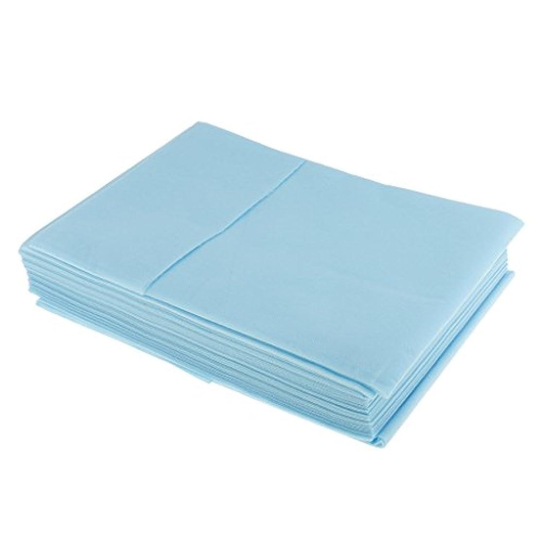 角度無関心悪夢10枚入り 使い捨て 美容室/マッサージ/サロン/ホテル ベッドパッド 旅行用 衛生シート 全3色選べ - 青