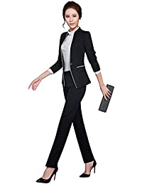 レディーススーツ スーツセット パンツスーツ OL制服 長袖 2点セット オフィス (ブラック, XXL)
