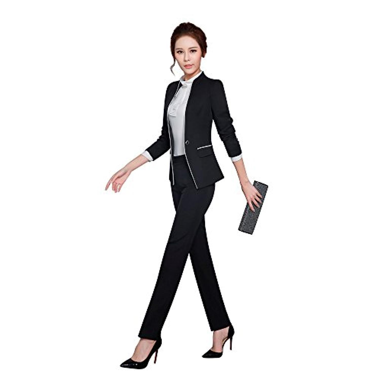 レディーススーツ スーツセット パンツスーツ OL制服 長袖 2点セット オフィス (ブラック, 3XL)