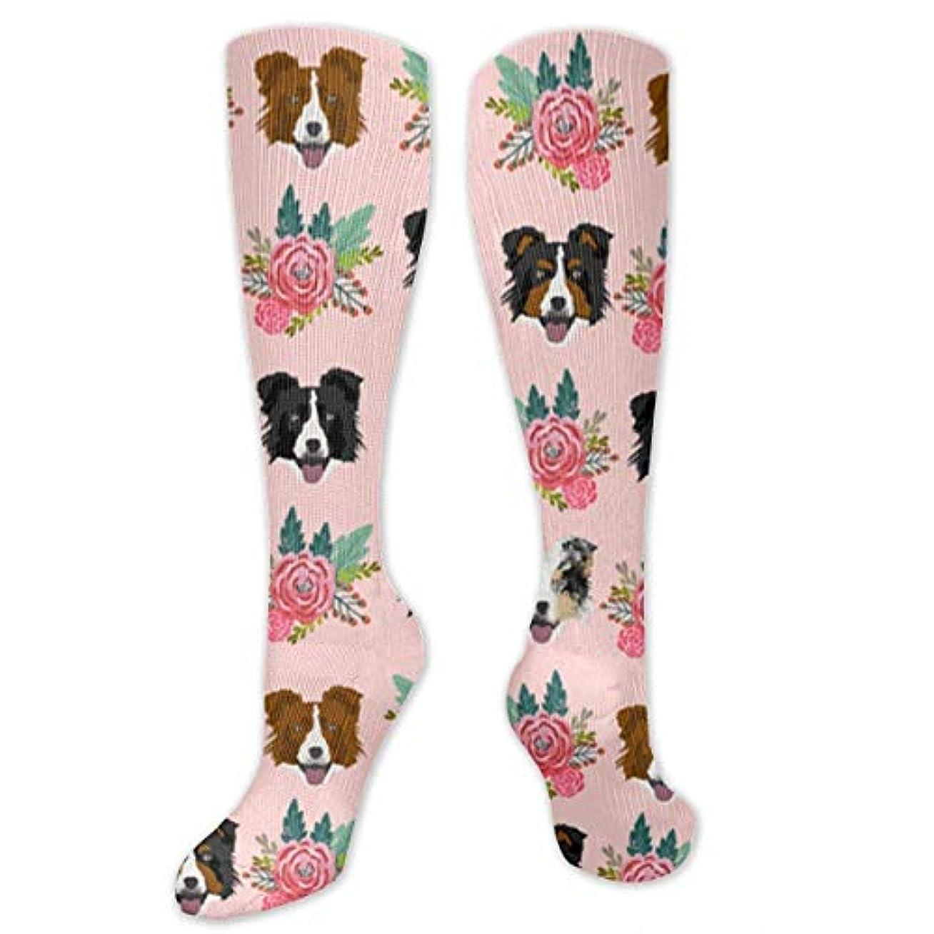 半球文房具しがみつく靴下,ストッキング,野生のジョーカー,実際,秋の本質,冬必須,サマーウェア&RBXAA Border Collie Floral Socks Women's Winter Cotton Long Tube Socks Knee...