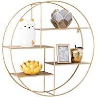 Round Wall-Mounted Shelves Golden Wall Mount Retro Four-Tier Iron Shelf Floating Unit Frame Wall Decorative Shelves