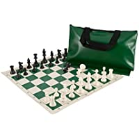 Superior Chess Set Combo - Triple Weighted Pieces | Vinyl Chess Board | Superior Bag by