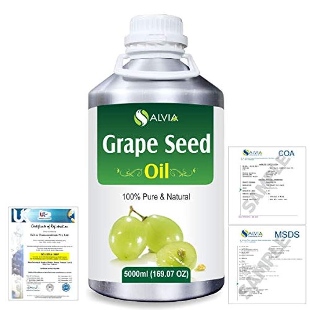 不器用まろやかな低下Grape Seed (Vitis vinifera) 100% Natural Pure Undiluted Uncut Carrier Oil 5000ml/169 fl.oz.