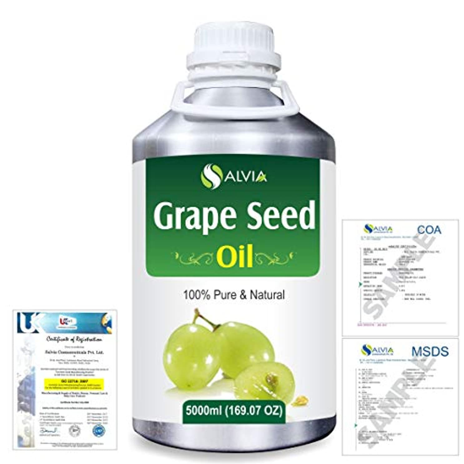 望む半島やさしいGrape Seed (Vitis vinifera) 100% Natural Pure Undiluted Uncut Carrier Oil 5000ml/169 fl.oz.