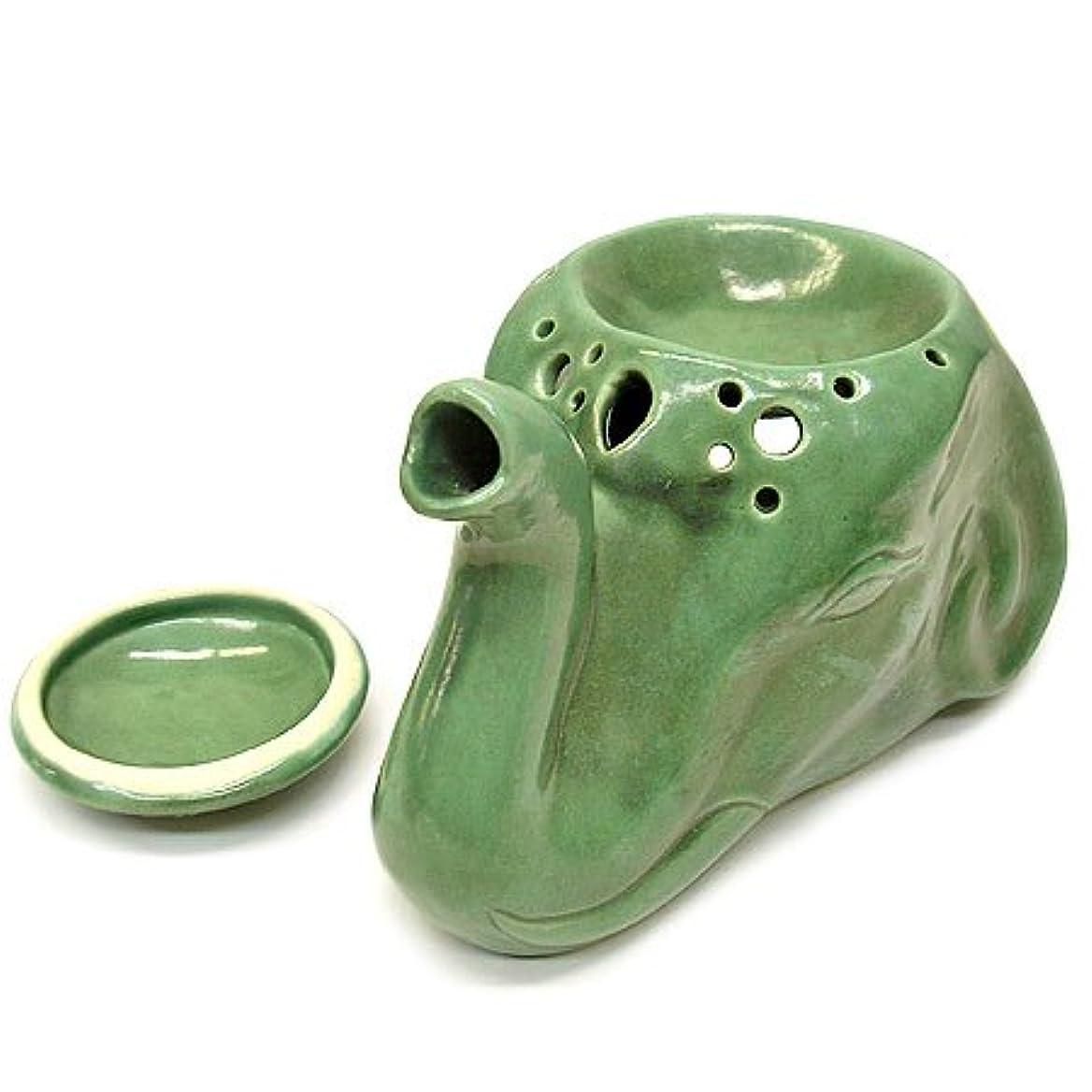 北方今晩公平タバナン 象のアロマオイルバーナーセット 緑アジアン雑貨