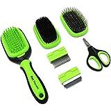 5 in 1 Dog Brush and Cat Brush Pet Grooming Kit Shedding De-Matting Slicker Comb for Undercoat Long Short Haired Small Medium