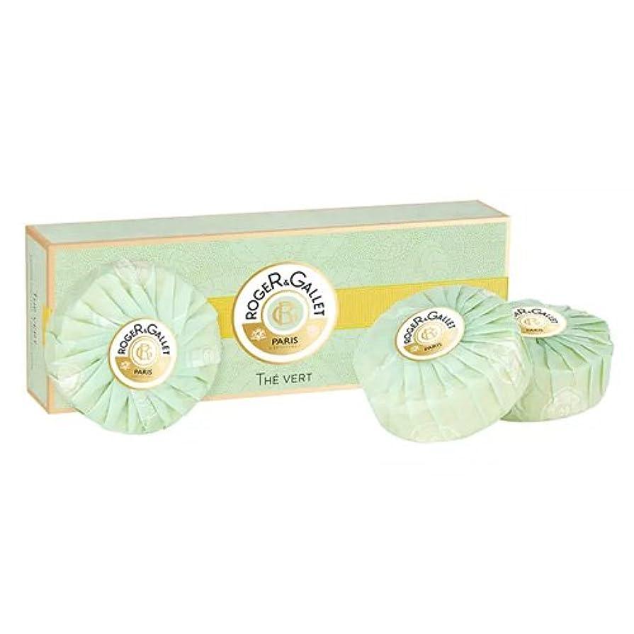 選挙一族スイス人ロジェガレ グリーンティー (オーデ テ ヴェール) 香水石鹸3個セット ROGER&GALLET EAU DE THE VERT (GREEN TEA) SOAP [並行輸入品]