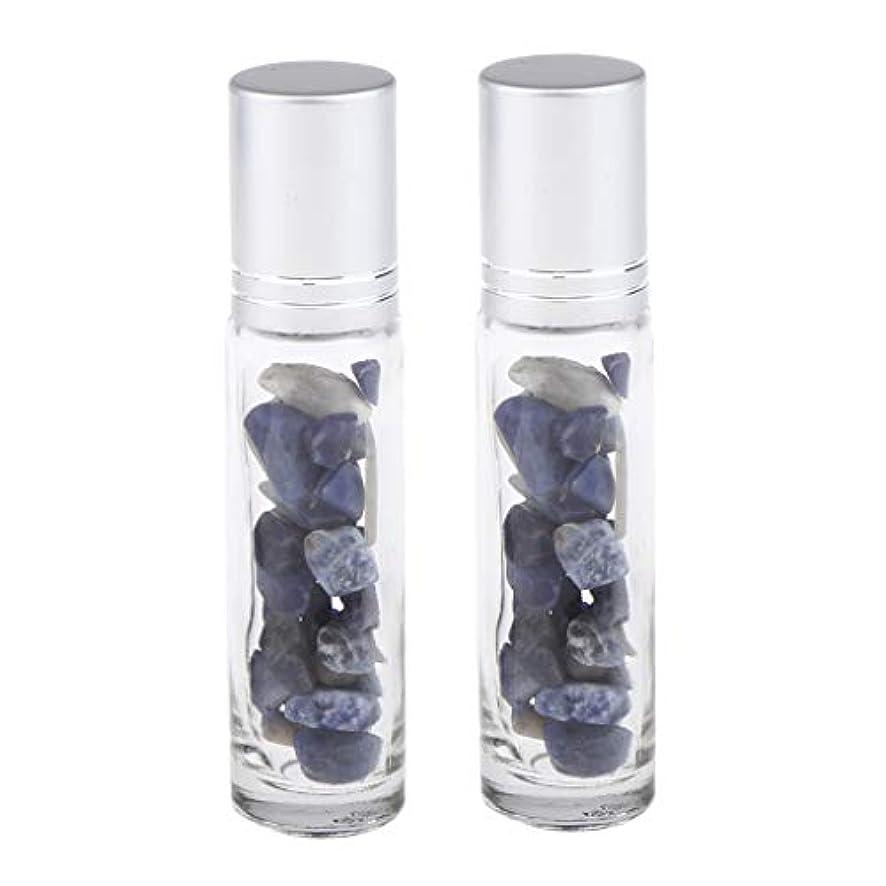 半ば行拡声器chiwanji 香水アトマイザー ガラスボトル 精油瓶 天然石 ロールオンボトル 10ml マッサージ 全10種類 - 青い縞模様