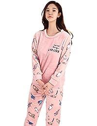 [ファイン?ショップ]パジャマ レディース 冬 もこもこ 長袖 上下セット 可愛い 暖かい 防寒 ふわふわ 厚手 ソフト 柔らかい 肌触り良い 部屋着 快適 ゆったり 大きいサイズ対応 ルームウェア M/L/XL/XXL...