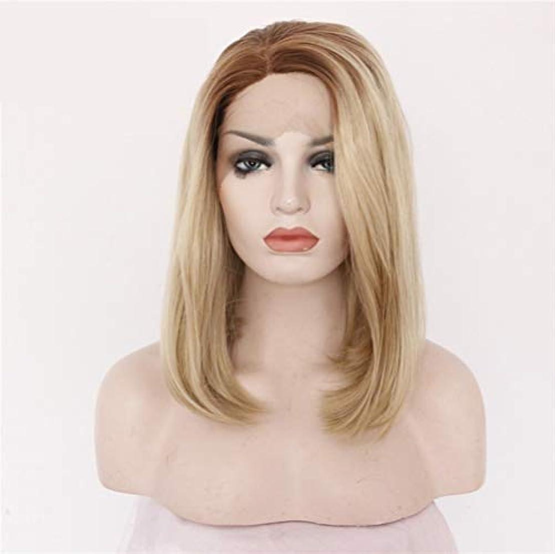 安全でない種類小説かつらストレートボブレースフロントかつら人間の髪の毛プレ摘み取ら自然な生え際付きベビーヘアー130%密度16インチ
