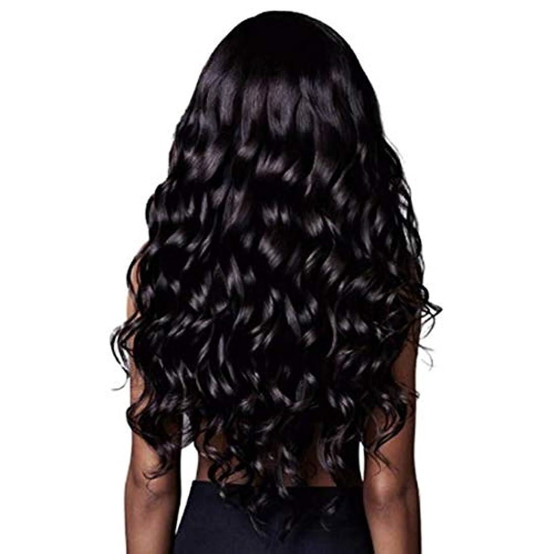 矢じりすべてリーSummerys 長い巻き毛のかつら自然な探している長い波状の右側面別れなしレースの交換用のかつらフルダークブラウン合成かつら
