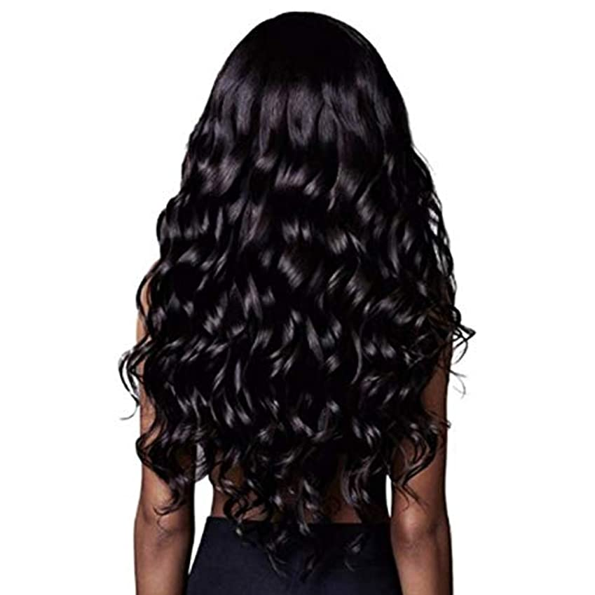 アクセシブル定常意図的Summerys 長い巻き毛のかつら自然な探している長い波状の右側面別れなしレースの交換用のかつらフルダークブラウン合成かつら