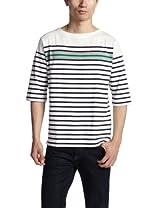 6/10 Sleeve Panel Stripe Boatneck Shirt 3217-113-3270: White