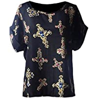 XINHEO Women Oversized Crewneck Patterned Chiffon Short Sleeve T-Shirt Top