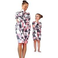 Franterd Mommy & Me プルオーバー 親子用 レディース ガールズ 長袖 バンデージ 幾何学模様 ゆったり ショートドレス 家族のお揃いの服 3T FM 01