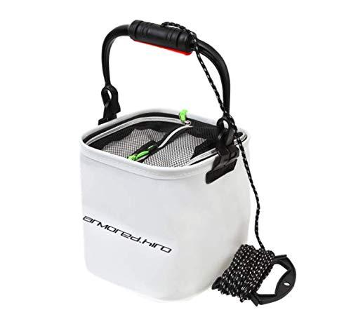 【アーマード・ヒロ】バッカン バケツ 水汲み 折りたたみ コンパクト メッシュカバー付き ホワイト 20cm