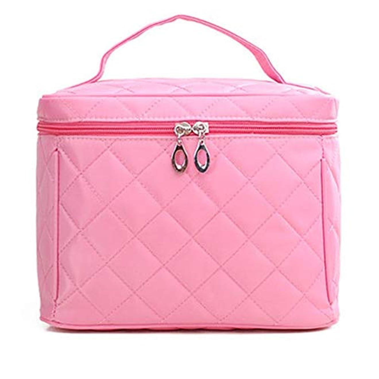 化粧オーガナイザーバッグ プロフェッショナルメイクアップアーティスト大容量化粧品バッグ多機能ウォッシュバッグ旅行旅行防水ブラックストレージバッグ。 化粧品ケース (色 : ピンク)
