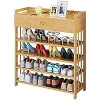 靴のキャビネットシンプルな玄関大容量4層の固体木製の竹引き出しタイプのホームシューズラック (サイズ さいず : 80cm)