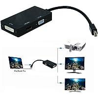 Mini DisplayPort オス to HDMI/DVI/VGA メス 3-in-1変換アダプタケーブル 黒 Apple Macbook, Macbook Pro, iMac, Macbook Air, Mac Mini, Microsoft Surface pro 1 2 3, Thinkpad