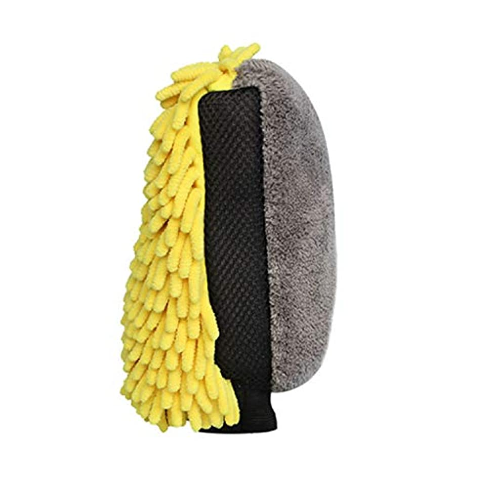 強制的アサーにもかかわらずBTXXYJP 防水 カーウォッシュマイクロ ファイバーシェ ニール ディテールブラシ グローブ 多機能 (Color : Yellow, Size : M-Five pairs)