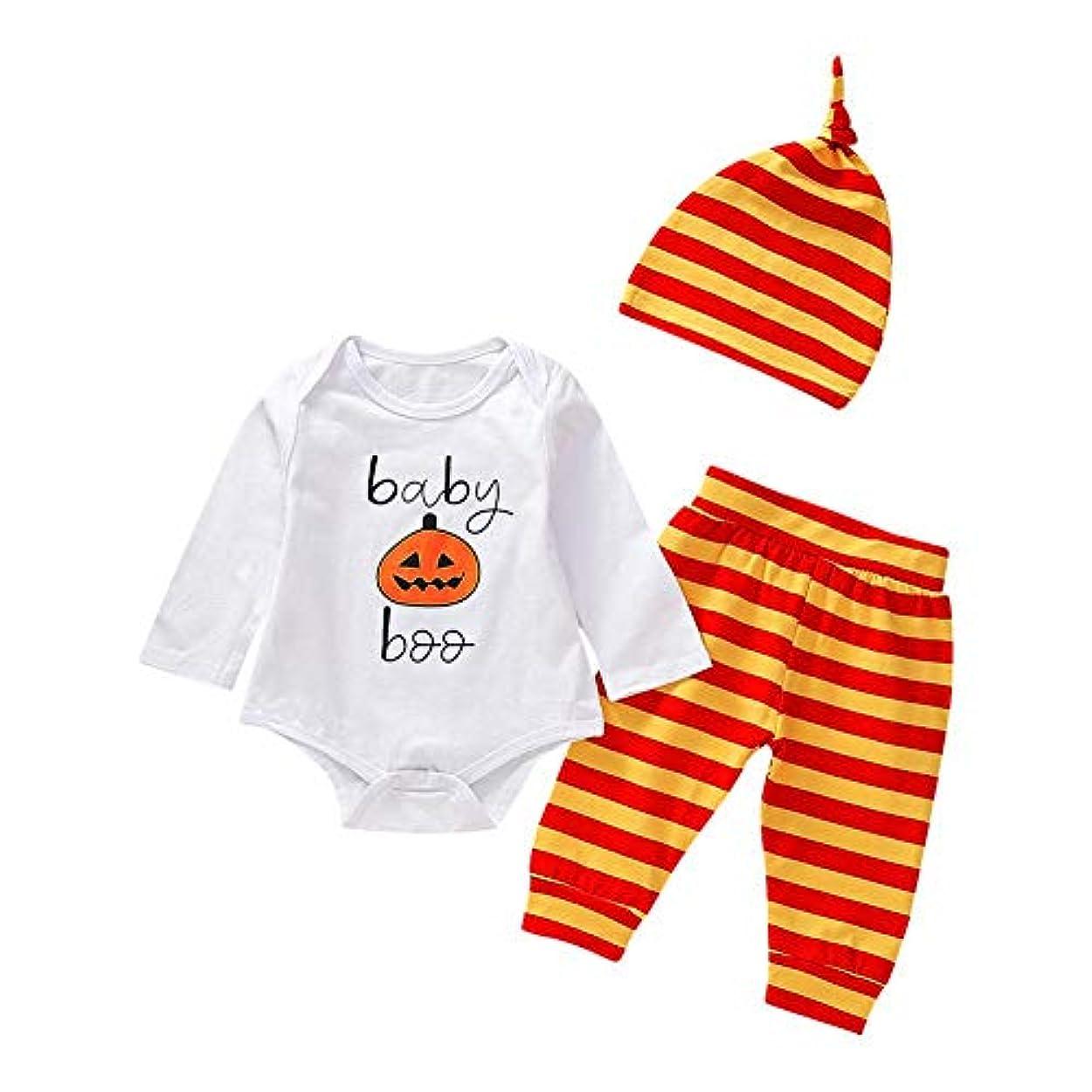 主人繁殖特徴Chaufly 子供服 ハロウィン 新生児 赤ちゃん ハロウィン 服 3本セット ロングスリーブ レタープリント ロンパー パンツ 帽子