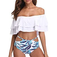 Tempt Me Women Two Pieces Bikini Set Off Shoulder Ruffled Swimwear with Tropical Pattern Printed Brief
