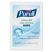 GOJO Cottonyソフト個別包装Sanitizing Hand Wipes、5x 7、ホワイト、1000/CT