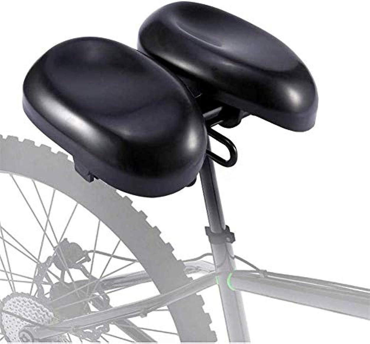 警官付与献身自転車用シート、人間工学に基づいたソフトデュアルパッド自転車サドルクッションノーズレス、男性用と女性用幅調節可能8.6?9.8インチ