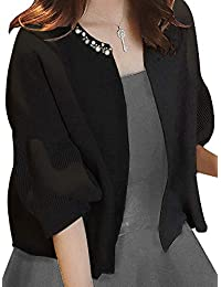 [ニーマンバイ] パール ビジュー 付き ボレロ カーディガン 4色展開 (黒・赤・グレー・ベージュ)S~XXL レディース