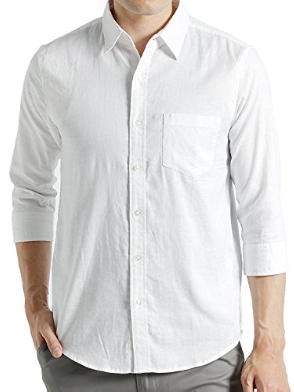 世代名誉ある敷居(オークランド) Oakland 7分袖 リネンシャツ 綿麻シャツ ストレッチ シャツ サマー メンズ