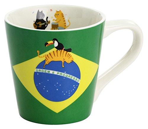 セラミック藍 マグカップ 猫 国旗 ブラジル 13100